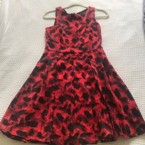 Fit and flare red and black pattern dress